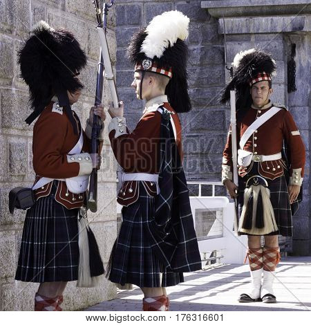 Halifax, Nova Scotia, September 23, 2015 -- Square view of the changing of the guard by Members of the 78 Highland Guard at the Citadel in Halifax Nova Scotia on a beautiful sunny day in September