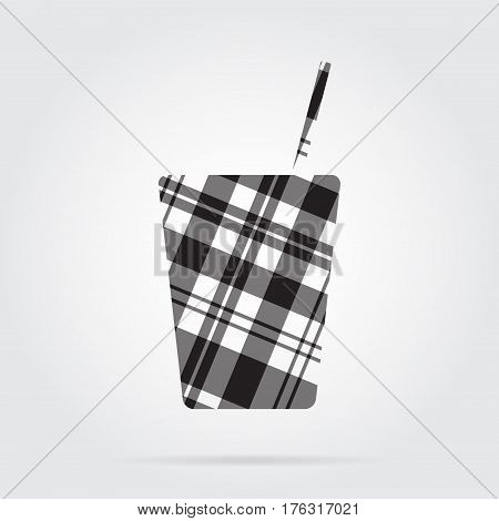 grayscale gray black isolated tartan icon with white stripes - fast food drink with straw and shadow in front of a gray background