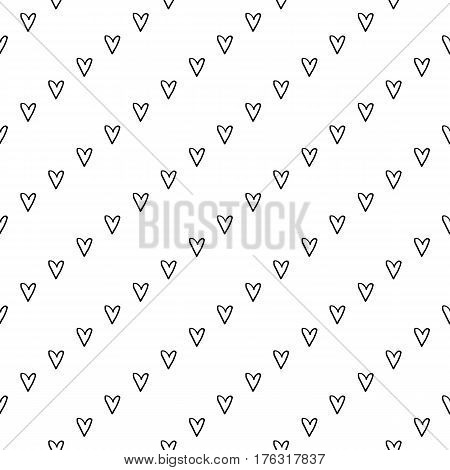 Abstract stripe pattern with hand drawn doodle hearts. Cute vector black and white stripe pattern. Seamless monochrome diagonal stripe pattern for fabric, cards, wrapping paper and web backgrounds.