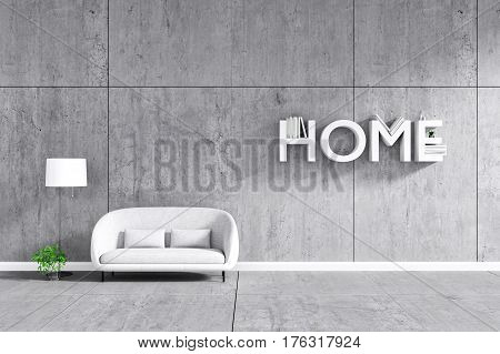 3d rendering : room Minimalist interior light and shadow with white fabric sofa at front of cement concrete wall and floor. minimalism loft style wall background. design your HOME concept