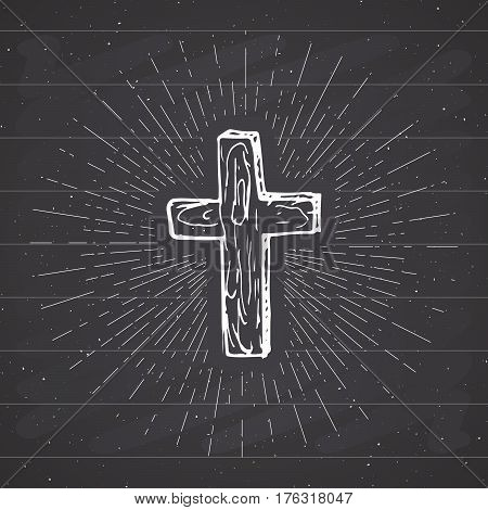 Vintage label Hand drawn Christian cross religious sign crucifix symbol grunge textured retro badge typography design t-shirt print vector illustration on chalkboard background