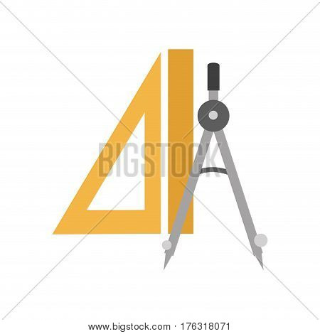 Precision Compass and ruler icon over white background. colorful design. vector illustration