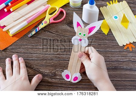 Children's Easter Gift From Wooden Chopsticks Toy Chicken And Easter Bunny. Hand-made. The Project O