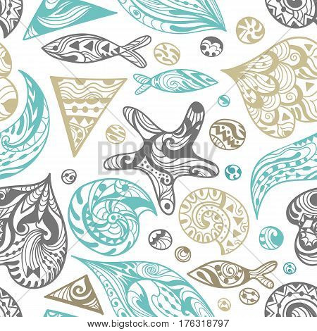 Seamless ocean life texture in abstract sketch zendoodle style