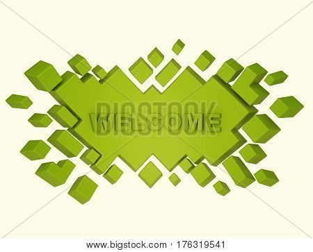 Green welcome geometric background from cubes. 3d rendering