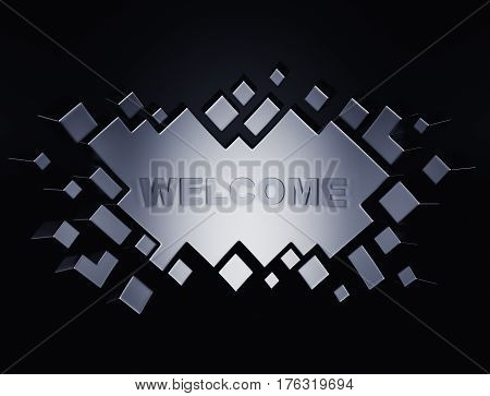 Silver welcome geometric background from cubes. 3d rendering