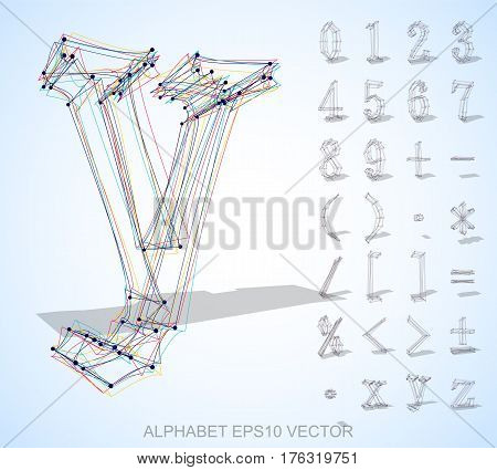 Abstract illustration of a Multicolor sketched Numbers And Mathematical Symbols with Transparent Shadow. Set of hand drawn 3D Numbers And Symbols for your design. EPS 10 vector illustration.