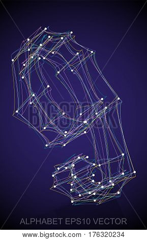 Abstract illustration of a Multicolor sketched 9 with Reflection. Hand drawn 3D 9 for your design. EPS 10 vector illustration.