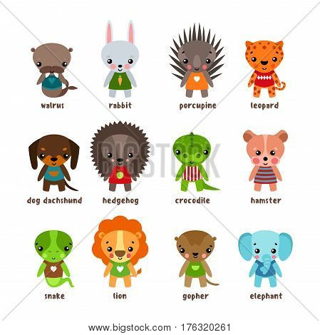 Cartoon walrus and rabbit, porcupine and leopard, dog dachshund and hedgehog, jungle crocodile and forest pocket gopher, hamster and snake, safari lion and elephant. Set of isolated baby animals