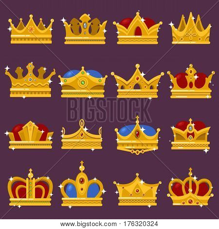 Royal crown, king or prince, princess or queen shiny headdress, golden pope tiara. Monarchy and imperial sign or emblem with diadem and jewelry. Imperial and victorian medieval elite icon, game award