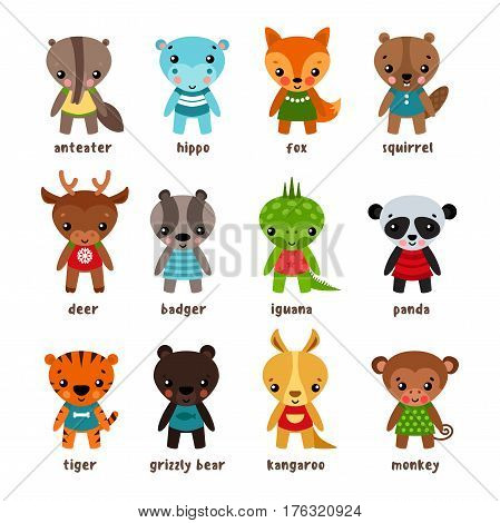 Anteater and red fox, hippo or hippopotamus, squirrel and deer, badger and lizard iguana, panda and tiger, american grizzly bear, australian kangaroo and monkey. Cartoon animal kids and zoology theme