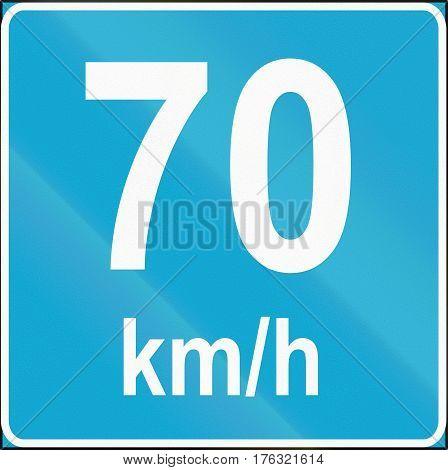 Road Sign Used In Estonia - Minimum Speed