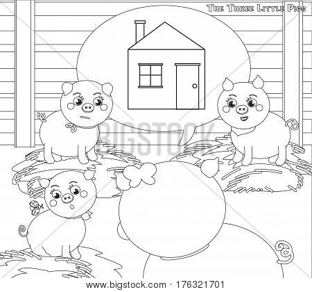 Three little pigs 2: a new house. Coloring vector for kids.