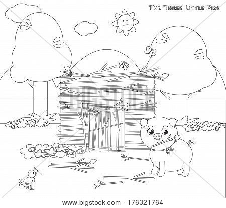 Coloring vector three little pigs 5. The sticks house