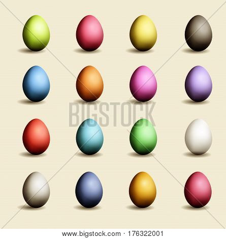 Set of Easter colored eggs with shadows