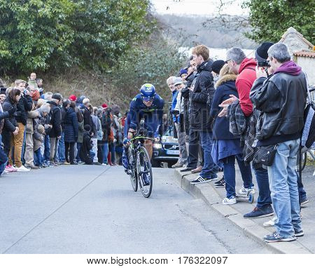 Conflans-Sainte-HonorineFrance-March 62016: The Spanish cyclist Jesus Herrada Lopez of Movistar Team riding during the prologue stage of Paris-Nice 2016.