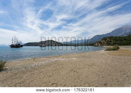 Lagoon And Sand Beach Of Phaselis Ancient City