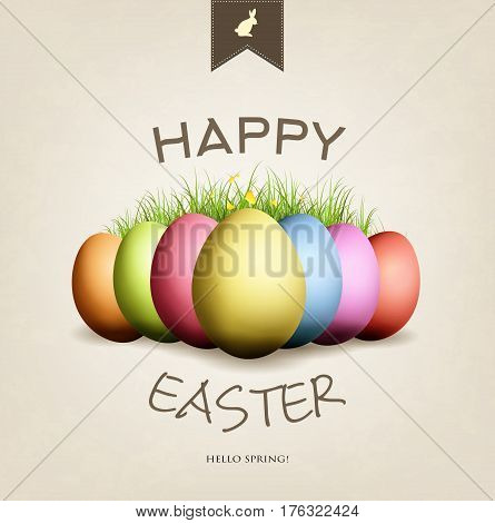 Grunge Easter card with eggs grass butterflies and happy wishes