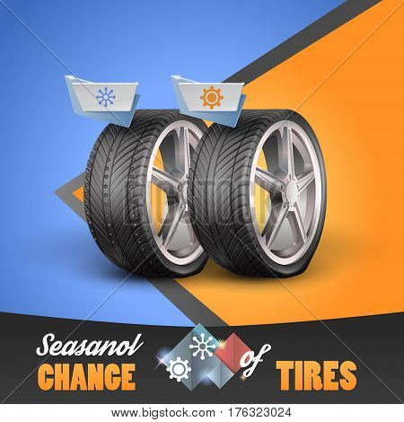Replacement tires for the sesanol specified on the label wheel. Vector illustration EPS10