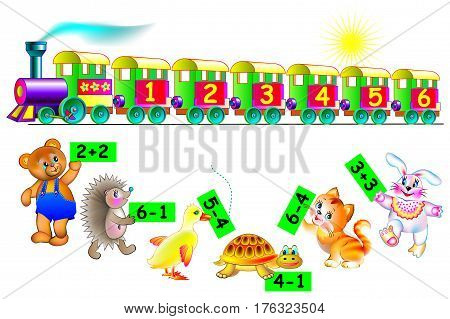 Exercises for children. Need to help animals to find the correct wagon of train. Connect them by line. Developing skills for counting. Vector image.