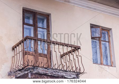 Apartment With Emergency Balcony. Old Reinforced Concrete Slab