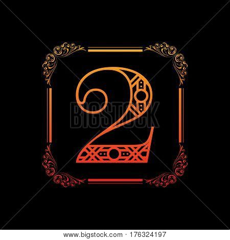 Decorative number 2 with abstract frame isolated on black background
