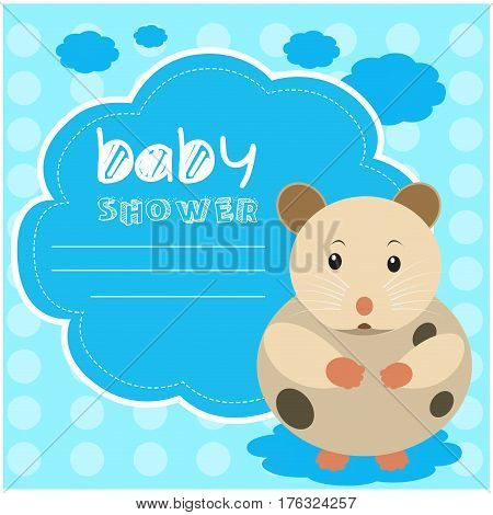 Colored baby shower card with a hamster, Vector illustration