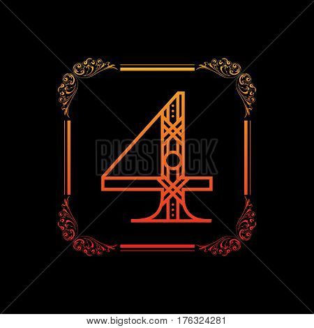 Decorative number 4 with abstract frame isolated on black background