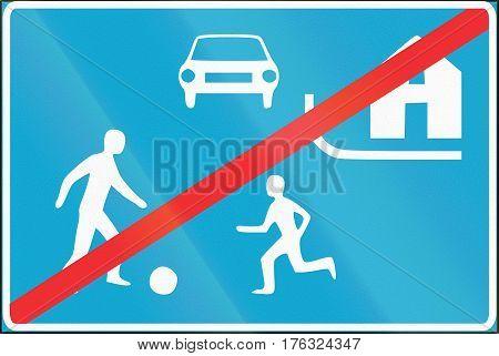 Estonian Regulatory Road Sign - End Of Recreation Area