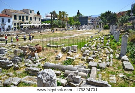 MONASTIRAKI ATHENS GREECE, MAY 18 2015: tourists at the ancient roman market Monastiraki Athens Greece. Editorial use.