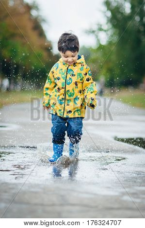 Little Boy Playing In Puddle