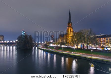 Lutheran parish church Dreikonigskirche, Three Kings or Three Wise Men church, on the bank of the Main river in Frankfurt am Main, Germany