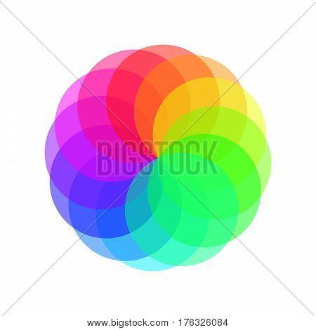 Rainbow spectrum color wheel. Children wind vane vector illustration.
