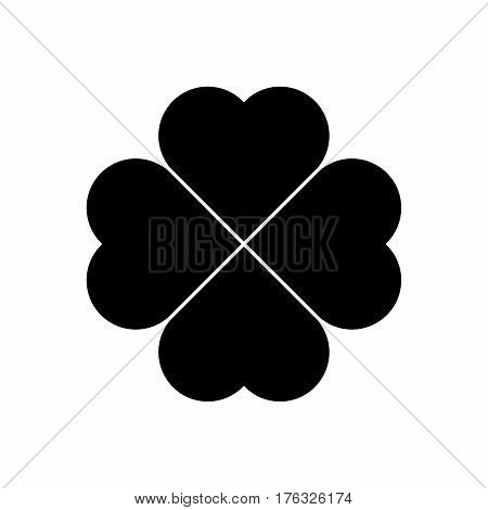 Shamrock silhouette - black four leaf clover icon. Good luck theme design element. Simple geometrical shape vector illustration.