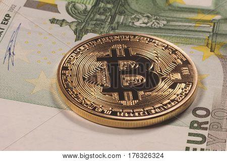 Golden bitcoin Euro background. Bitcoin cryptocurrency.  Bitcoin cryptocurrency.