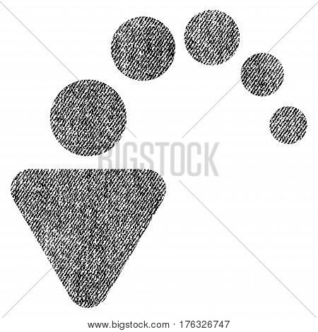 Undo vector textured icon for overlay watermark stamps. Fabric black vectorized texture. Symbol with dirty design. Rubber seal stamp with fiber textile structure.