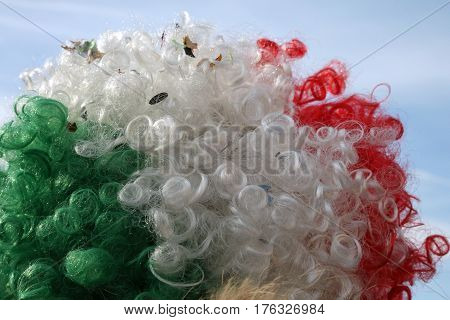 fun tricolor wig with green white red colors and blue sky