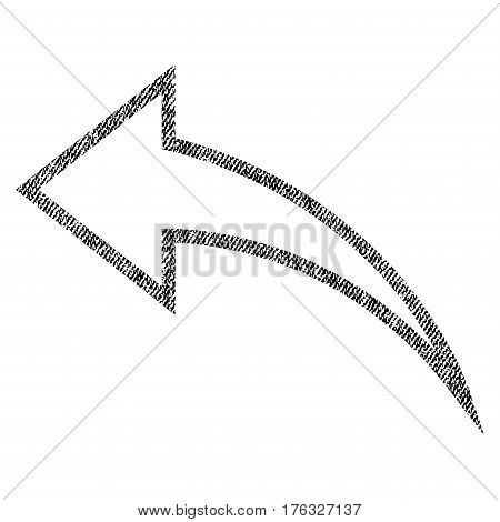 Undo vector textured icon for overlay watermark stamps. Fabric black vectorized texture. Symbol with scratched design. Rubber seal stamp with fiber textile structure.
