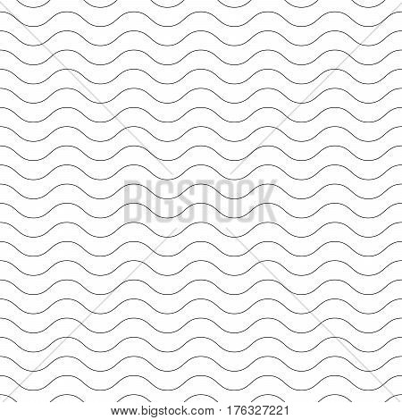 Seamless wavy pattern. Black thin lines on white background. Nautical, naval and water theme. Vector illustration.