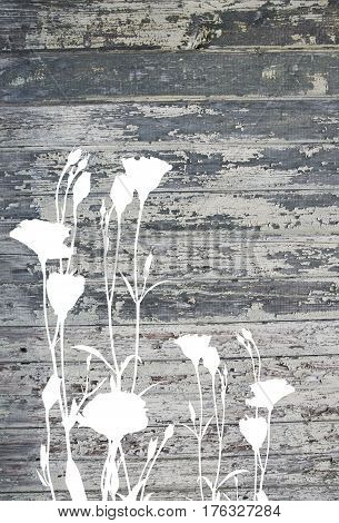 Abstract Flowers On Vintage Old Painted Wood Texture