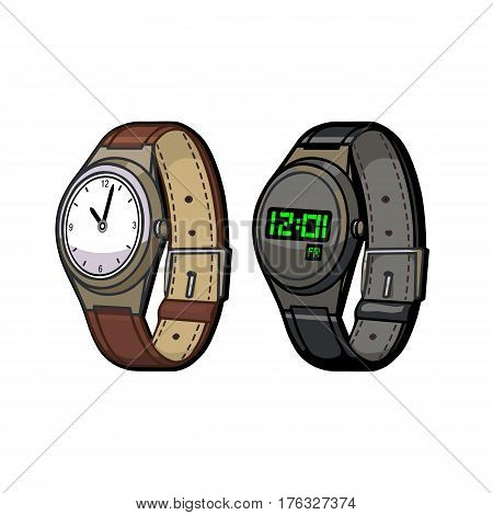 Wrist Watch mechanical and electronic on a white background