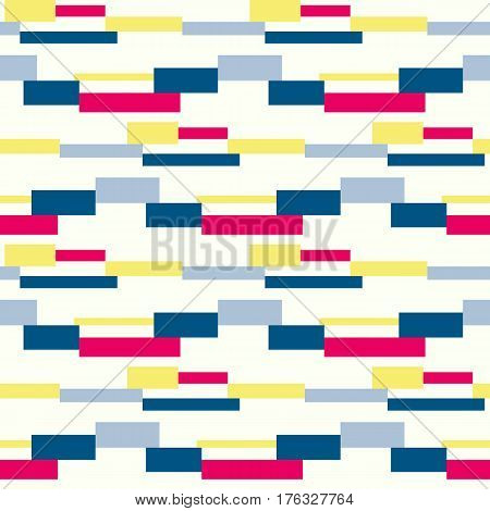 Geometric vector block stripe pattern. Pop art seamless background. Dynamic pattern with squares and stripes.