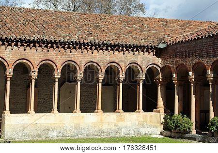 Cloister Of An Ancient Abbey On San Zeno Basilica