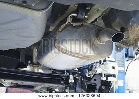 corrugation vehicle's exhaust system at shallow depth of field