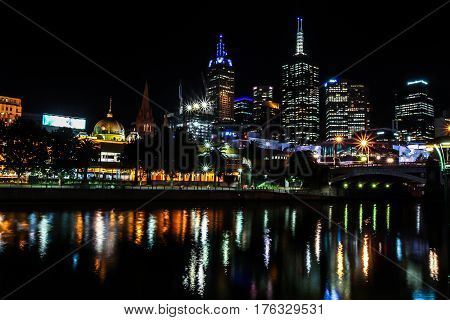 Melbourne Central Business District Skyscrapers And Central Train Station Night Panorama