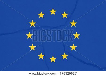 Europe flag, Europe is breaking symbolically, illustration