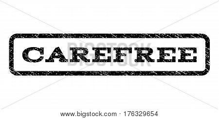 Carefree watermark stamp. Text tag inside rounded rectangle with grunge design style. Rubber seal stamp with dirty texture. Vector black ink imprint on a white background.