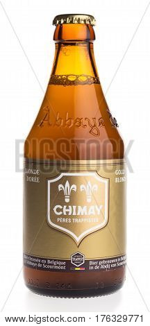 GRONINGEN, NETHERLANDS - MARCH 14, 2017: Bottle of Chimay Blonde beer isolated on a white background