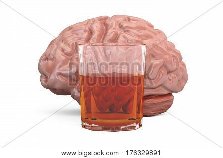 Brain and glass with alcohol drink alcoholism concept. 3D rendering
