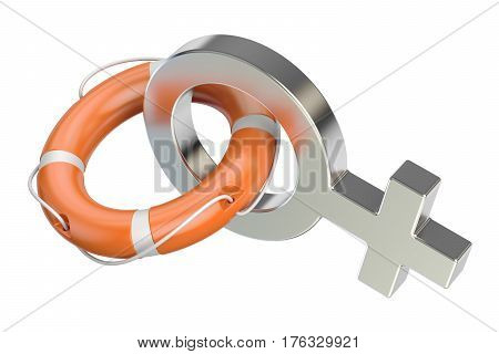 Female gender symbol with lifebuoy support and help for woman concept. 3D rendering